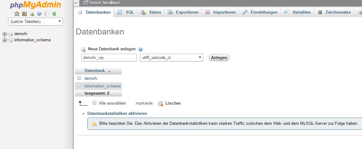 Eine neue Datenbank in phpmyadmin erstellen